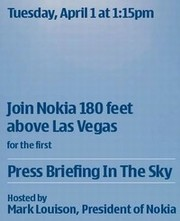 "Nokia press event ""Briefing In The Sky"" – 180 feet above the ground"