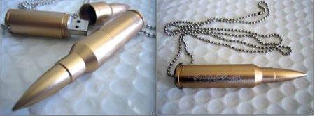 USB Drive encased in a machine gun bullet
