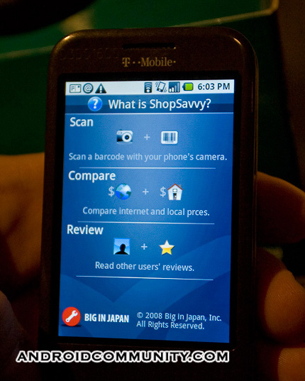 T-Mobile G1 hands-on with ShopSavvy: Award-Winning Android App