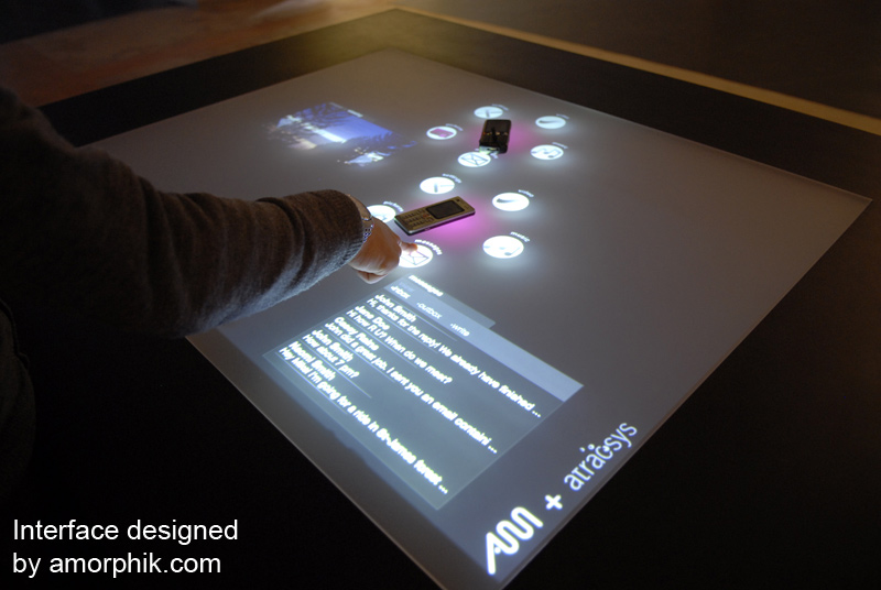 atracTable Custom Multitouch Surface: video demo