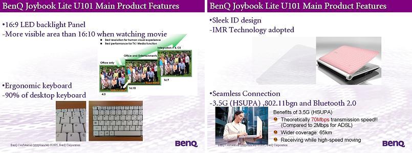 BenQ Joybook Lite U101 netbook has true 16:9 widescreen, HSUPA