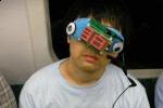 Sleep mask is for sleepy train passengers