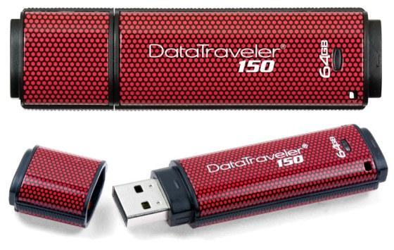 Kingston DataTraveler 150 thumb drive has 64GB capacity