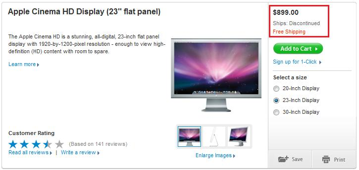 Apple 23-inch Cinema HD Display discontinued