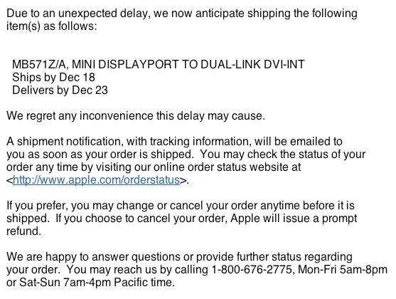 Apple Mini DisplayPort to DVI cable delayed until Christmas