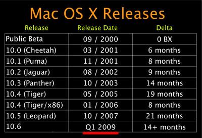 Apple OS X 10.6 Snow Leopard coming Q1 2009?