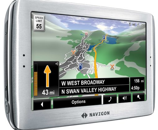 Navigon 8100T PND: rolling hills & Zagat listings on 4.8-inch widescreen