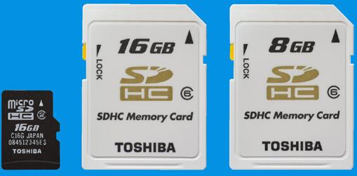 Toshiba 16GB microSDHC announced, plus Class 6 SDHC cards