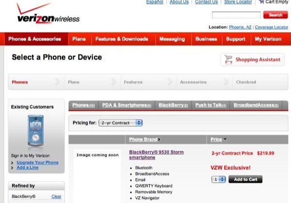 Verizon BlackBerry Storm 9530 price leaks: from $219 99