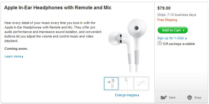 Apple In-Ear Headphones with mic & remote on sale
