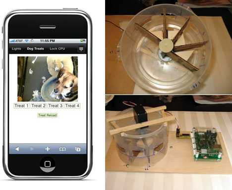 iPhone-controlled remote dog webcam & treat dispenser