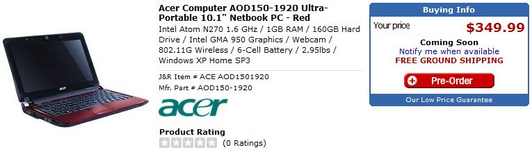 Acer Aspire One 10-inch gets US pre-order: 6-cell N270 for $349.99