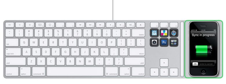 Apple Keyboard concept with iPhone induction charging & OLED keys