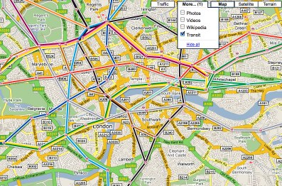 Google adds transit layer to Google Maps