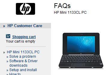 HP Mini 1100-series netbook listings appear