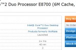 Intel 3.5GHz Core 2 Duo E8700 quietly introduced
