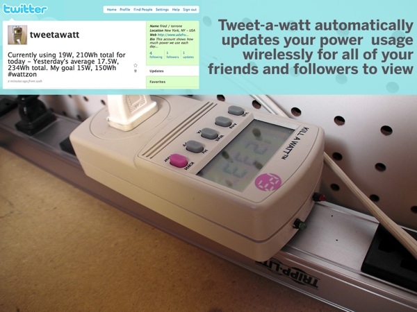 Tweet-a-watt internet-connected energy meter