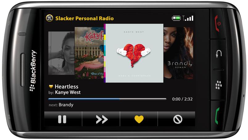Slacker BlackBerry Storm streaming radio client released