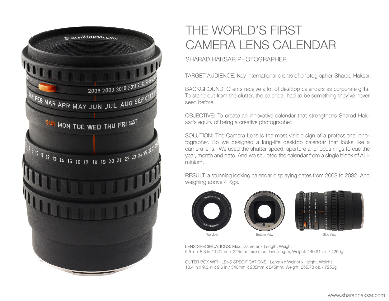 Creative camera lens packs calendar