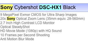 PMA rumor : SONY Cyber-shot DSC-HX1, 20x zoom with 1080p video