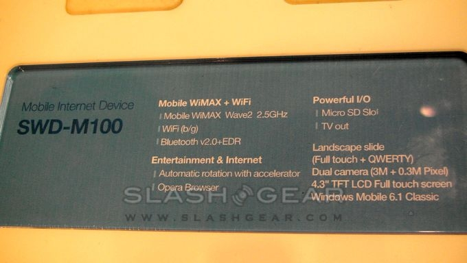 Samsung SWD-M100 WiMAX MID video demo