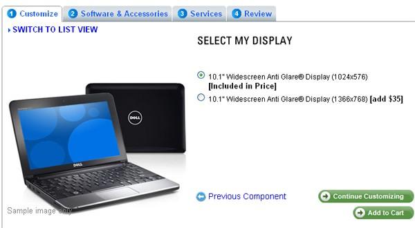 Dell Inspiron Mini 10 720p screen option available