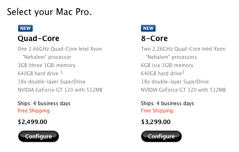 "Apple Refreshes the Mac Pro Line with Intel Xeon ""Nehalem"" Processors"