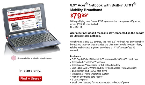 AT&T 3G Acer Aspire One price drops to $79.99
