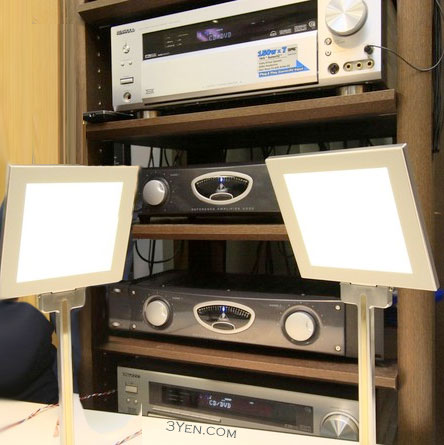 Kenwood OLED lamps with integrated speakers