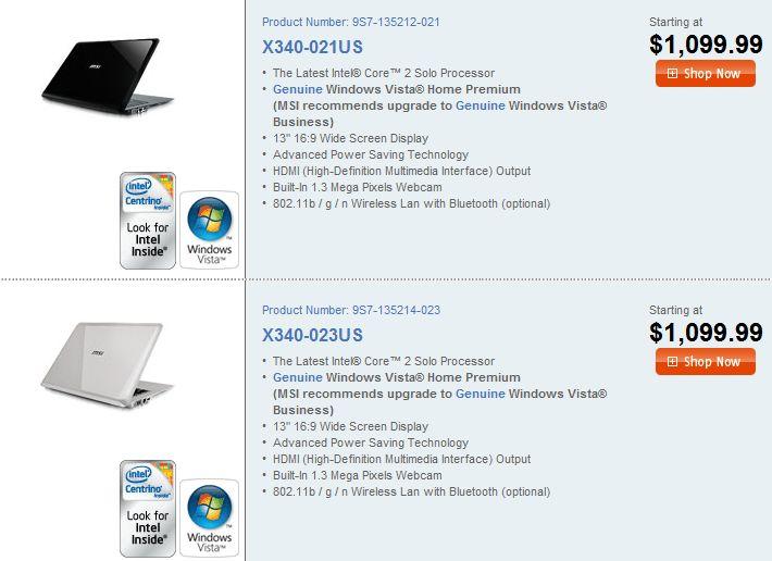 MSI X-Slim X340 listed, price creeps to $1,099.99