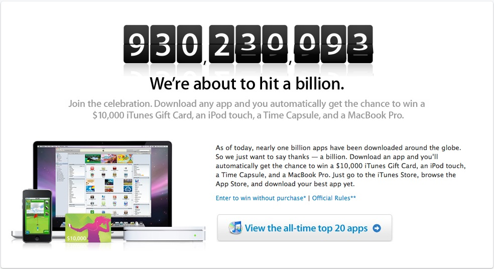 Apple counting down to 1 Billion Apps, Win $10k iTunes card, other prizes