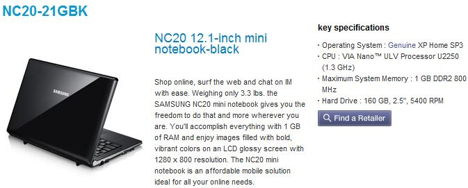 Samsung NC20 official product page goes live