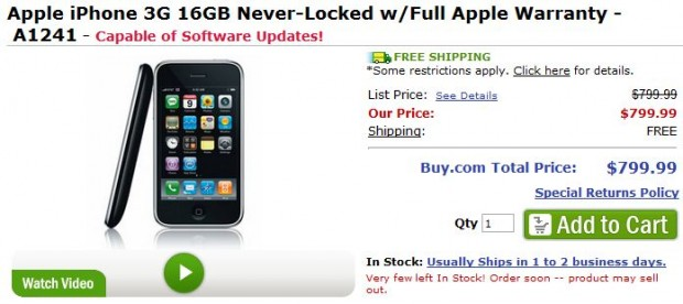 Buy.com sells Unlocked iPhone 3G for $799