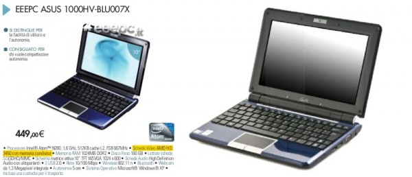 ASUS Eee PC 1000HV with ATI Radeon HD 3450 graphics