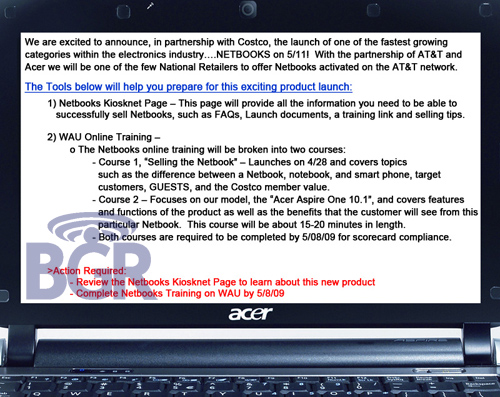 AT&T 3G Acer Aspire One 10.1-inch hitting Costco May 11th