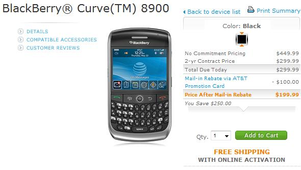 AT&T BlackBerry Curve 8900 on sale early