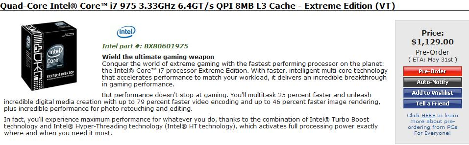 Intel Core i7 950 and Extreme 975 appear