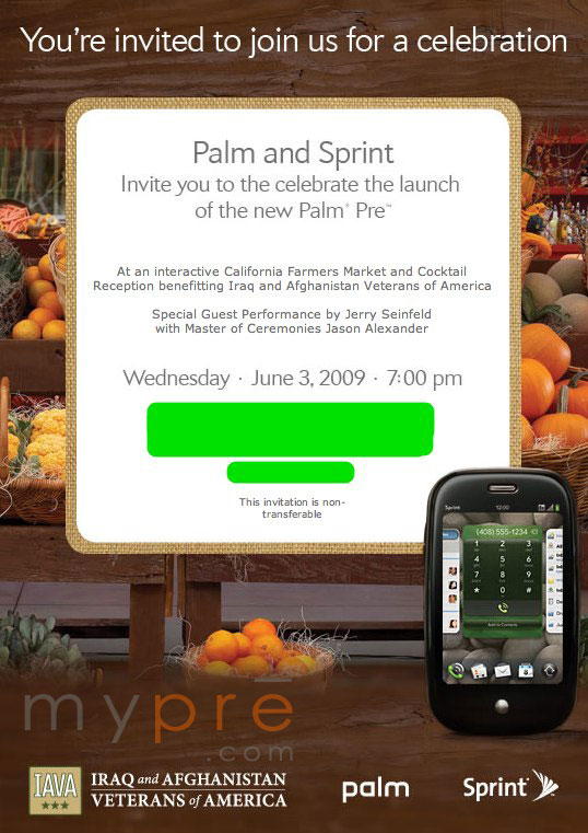 Palm & Sprint Pre launch party: My Pre will be there