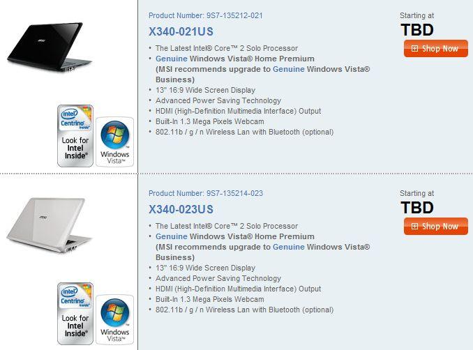 MSI X-Slim X340 headed for price cut?