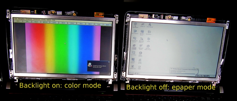 Pixel Qi demo 3Qi indoor/outdoor/e-ink netbook display