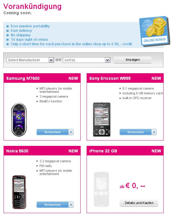 """T-Mobile Austria add iPhone 32GB to """"coming soon"""" page"""