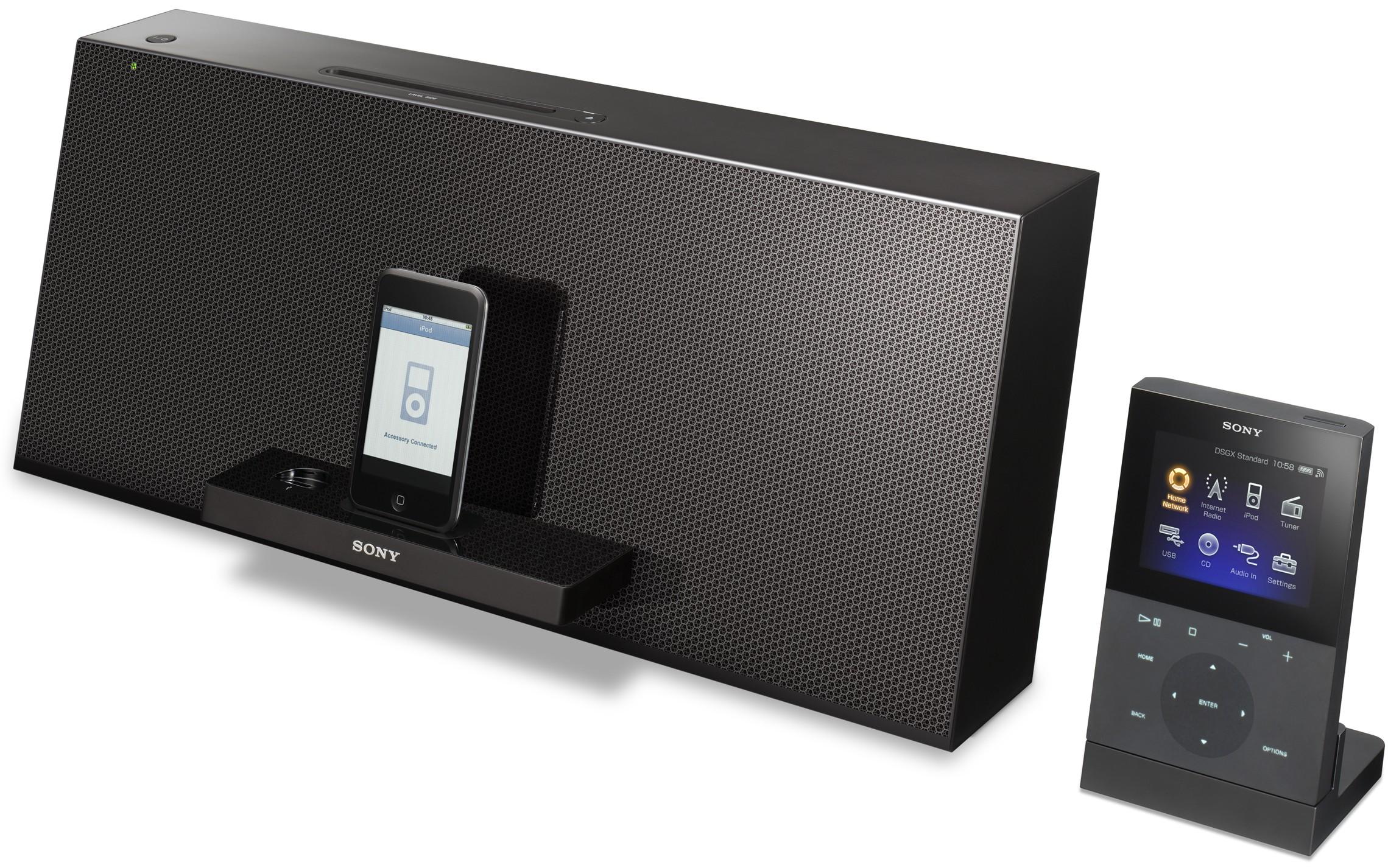 Sony iPod/CD speaker-docks: WiFi DLNA streaming & LCD remote