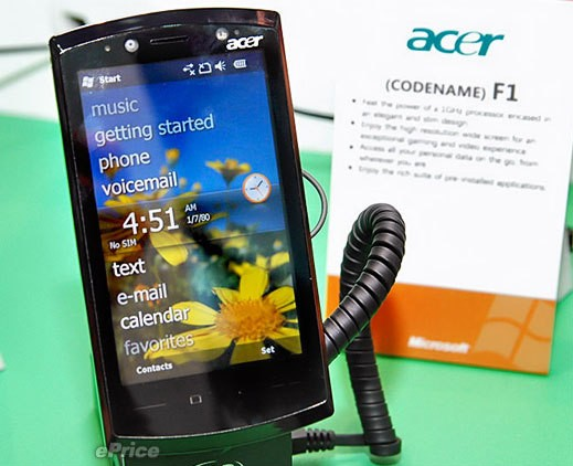 Acer F1 gets 1GHz Snapdragon CPU, 5MP, WM6.5