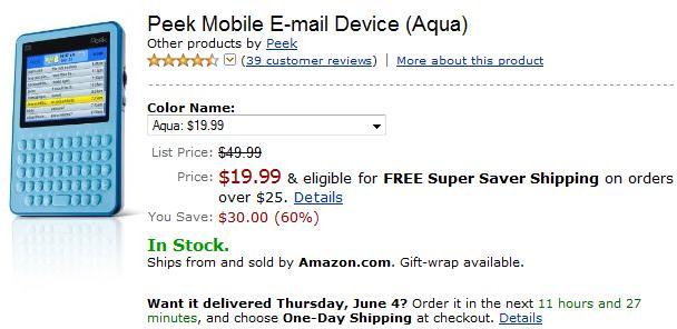Amazon slash blue Peek emailer to $20