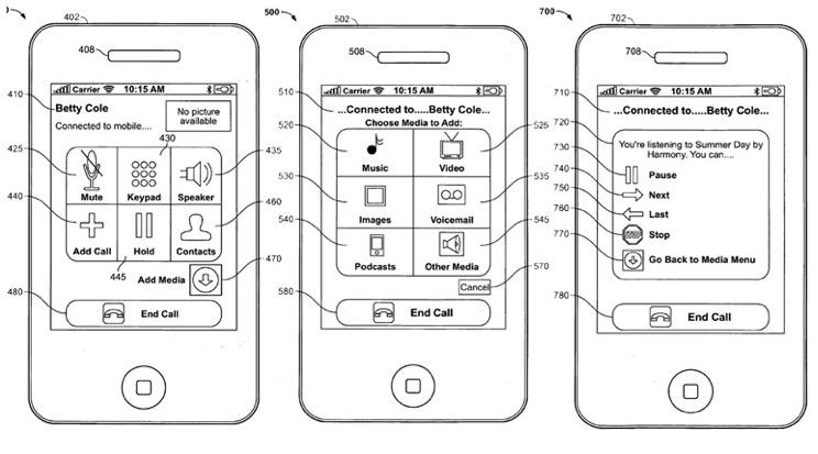 Apple patent for in-call iPhone media sharing system