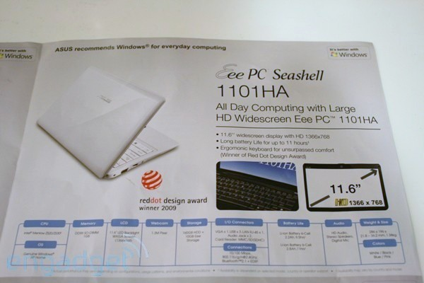 ASUS Eee PC 1101HA Seashell 11.6-inch netbook spotted