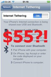 AT&T iPhone tethering at end of July for $55?