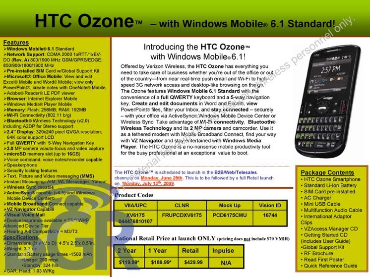 Verizon HTC Ozone specs leak: $120 from June 29th