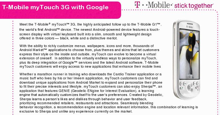 T-Mobile myTouch 3G Android phone lands August