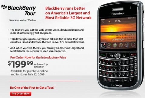 Verizon BlackBerry Tour preorders open: $200 on July 12th